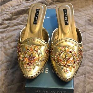 Gold embellished mules